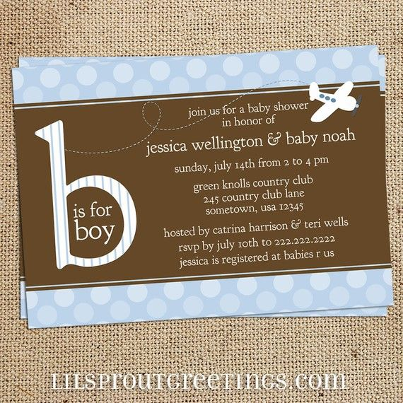 Airplane baby shower invitation / boys birth by lilsproutgreetings
