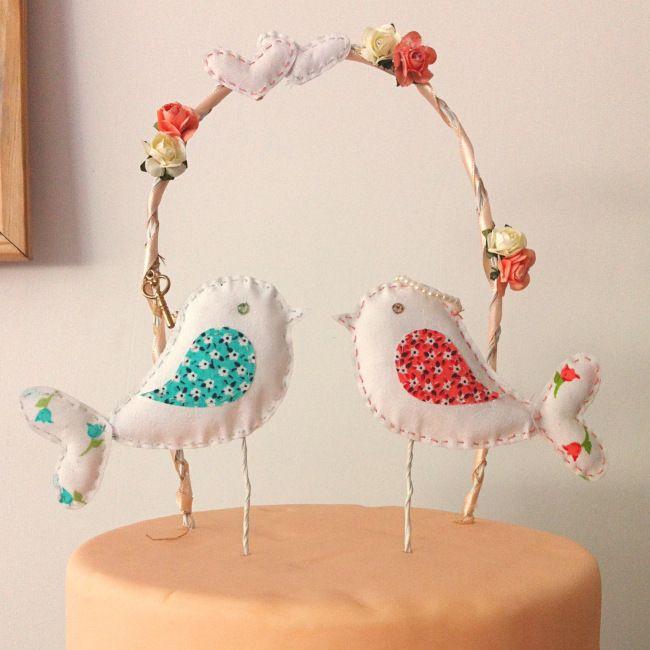 topo de bolo, cake topper, birds, passarinhos, love birds, handmade, feito a mao.