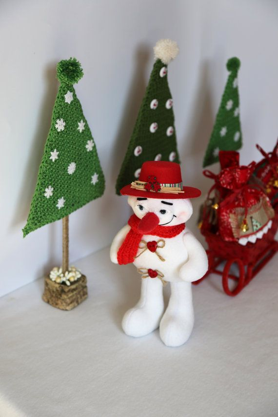 Snowman interior collectible doll. For interior decor gift
