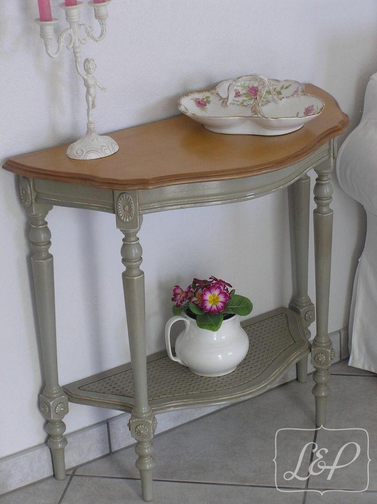 Table console ancienne cannée forme demi-lune : Astrid : Meubles et rangements par lin-et-patine