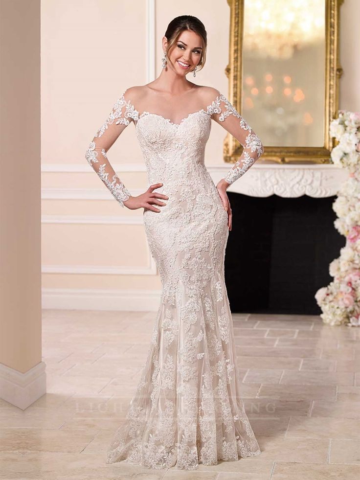 Off the Shoulder Lace Over Wedding Dress Featured Illusion Lace Sleeves