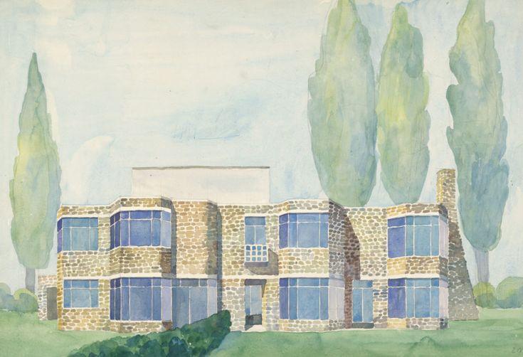 Den fantasifulla västkustarkitekturen i USA inspirerade de många drömhus Josef Frank ritade i avsaknad av uppdrag hemma i Sverige. Denna akvarell är från mitten av 1950-talet.