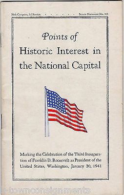 WASHINGTON DC FRANKLIN ROOSEVELT 3RD INAUGURATION POINTS OF INTEREST BOOK 1941