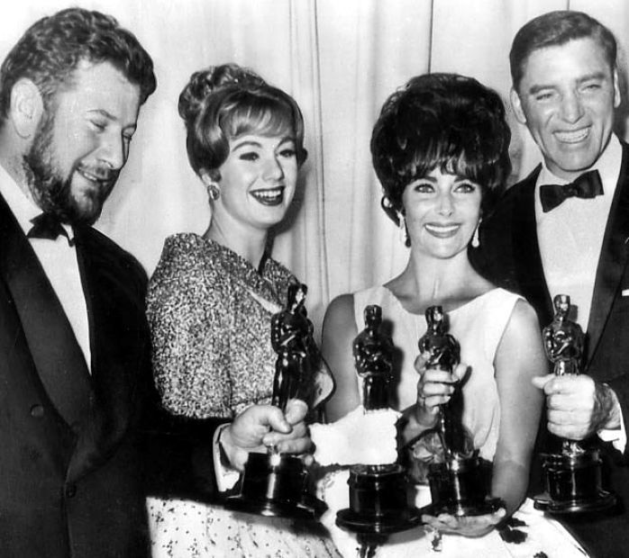 The 1960 Oscar winners in the acting categories: Peter Ustinov (Spartacus), Shirley Jones (Elmer Gantry), Elizabeth Taylor (BUtterfield 8) and Burt Lancaster (Elmer Gantry)
