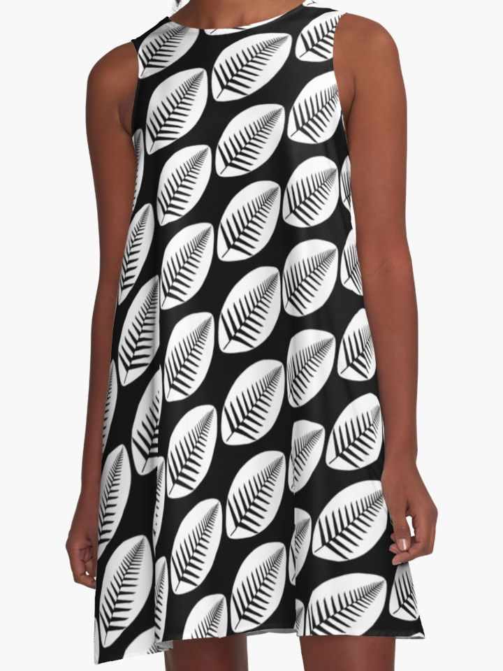 NZ Rugby A-Line Dress by Fimbis  New Zealand, All Blacks, fern, black and white, monochrome, Maori, haka, fashion, style, pattern,