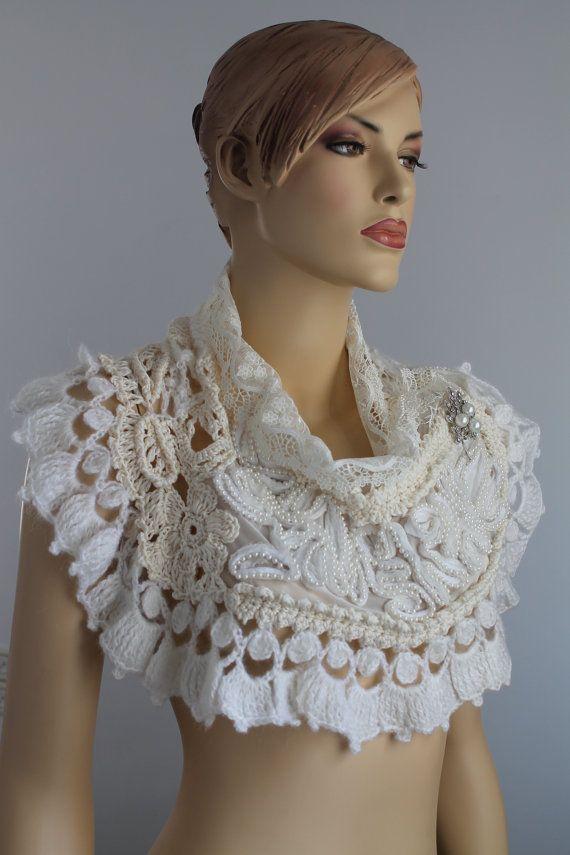 Wedding Crochet Capelet - Wedding Shrug - Wearable Art - OOAK. $165.00, via Etsy.
