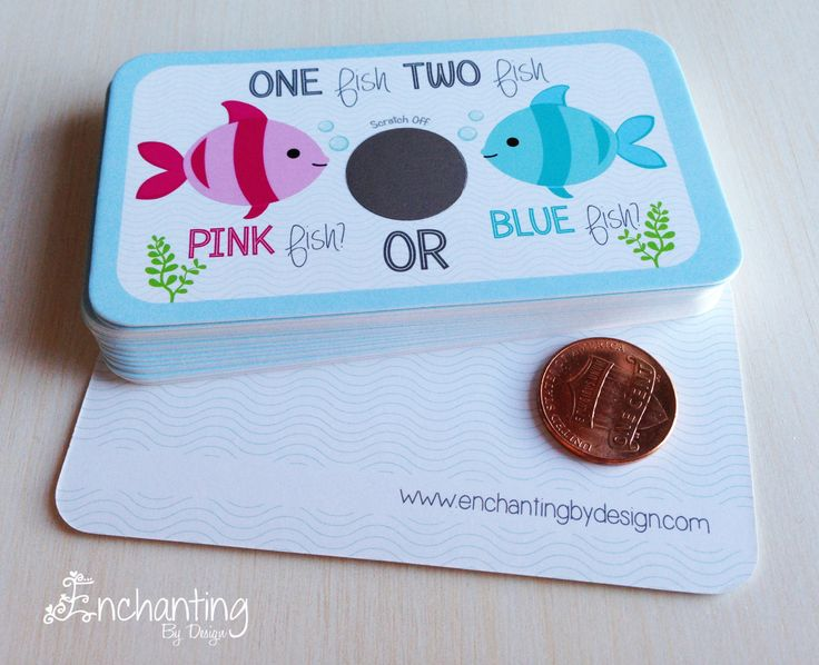 10 baby gender reveal scratch off cards pink fish blue for Fishing gender reveal ideas