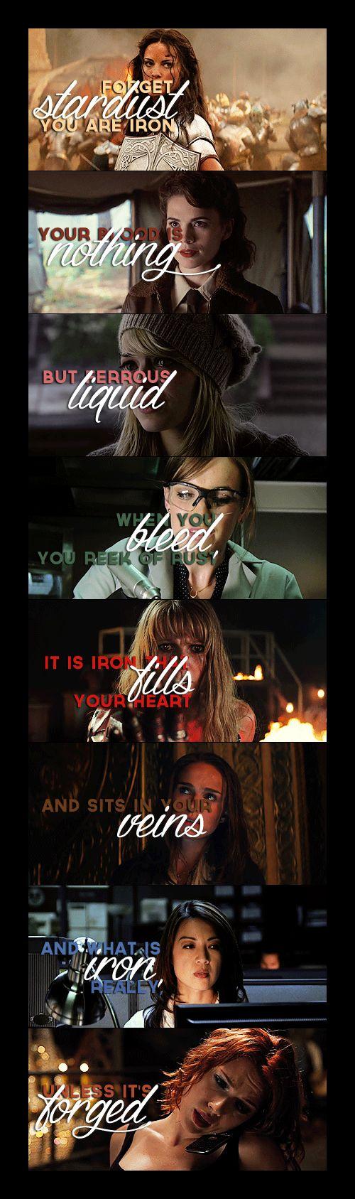 The Women of Marvel are Iron: Sif, Peggy, Gwen, Jemma, Pepper, Jane, Melinda & Natasha.