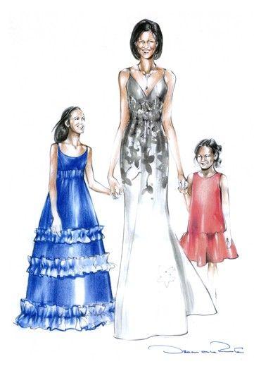 Oscar de la Renta sketch for Michelle Obama and daughters.