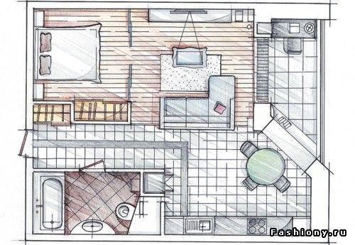 Однокомнатные квартиры с умом / дизайн маленьких комнат