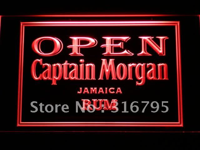 065 Captain Morgan Jamaica Rum OPEN LED Neon Light Sign Wholesale Dropshipping On/ Off Switch 7 colors DHL