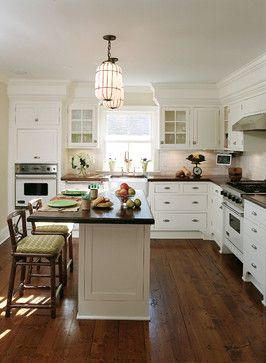 """Hope for staining pine flooring?? The notes on this kitchen remodel say the floors are pine with Minwax """"Early American"""" stain. If we could achieve this look, we may have found our floors..."""