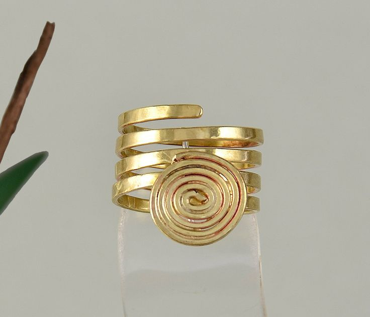Ring with spiral design, wrap around ring,brass coil band, romantic jewelry,plain long ring,index finger ring,middle finger ring, woman gift by ColorLatinoJewelry on Etsy