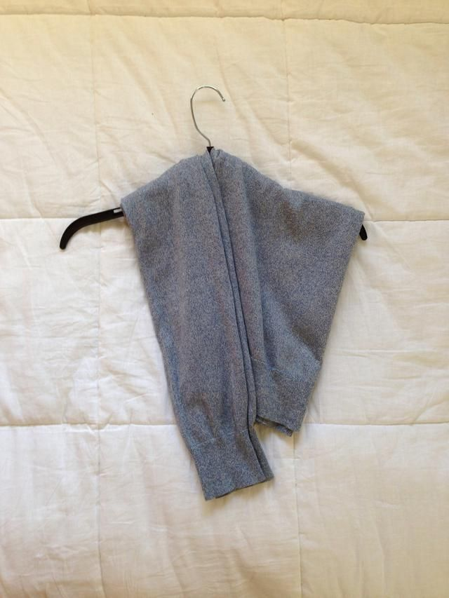 This is your finished product. How to hang a sweater or sweatshirt without it weighing down and getting those hanger shoulders!