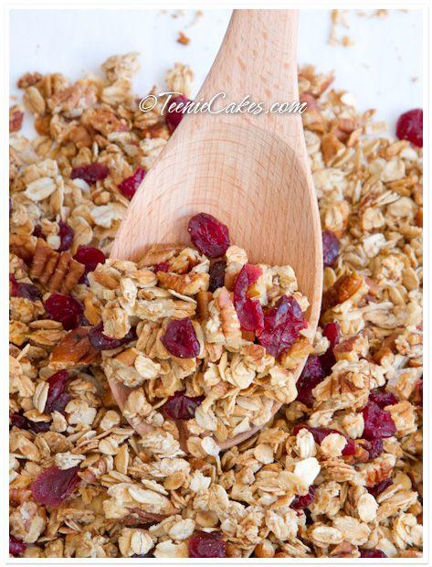 Honey, Pecan and Cranberry Granola  http://www.teeniecakes.com/2011/01/honey-pecan-and-cranberry-granola/#