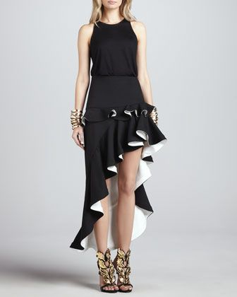 """I normally would post something like this on my """"Horrible Fashion"""" board, but this #skirt is exceptionally well done. Instead of being pink or turquoise with sparkles, it's black and white, heavy, like sculpture. #fashion"""