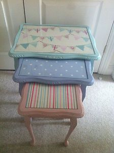 For Sale £70.00 Shabby chic pink,blue egg nest of tables painted in Annie Sloan!