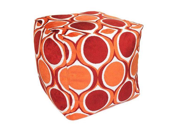 Retro Orange & Burgundy Geometric Cut Velvet Bean Bag Cube