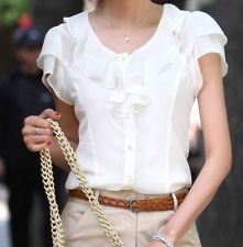 Women elegant slim fit ruffles OL Career Business blouse Top Shirt short sleeve