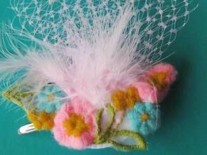 Vintage Applique Pink Netting Fascinator ON Clip Kitsch Piece | eBay