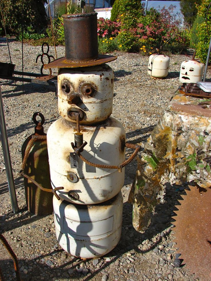 Snowman, from old bbq grill propane tanks.
