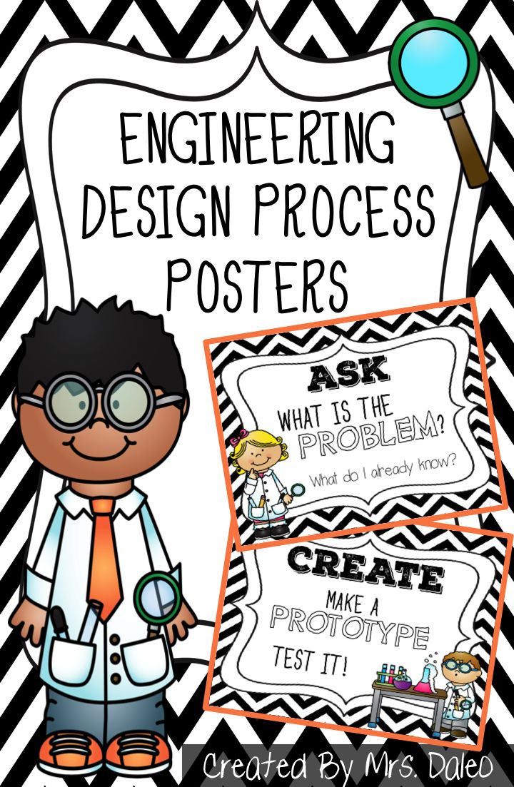Engineering Design Process Poster Set. Perfect for Primary STEM classrooms or a science center in any classroom. Works great in my Kindergarten STEM class. http://mrsdaleo.blogspot.com