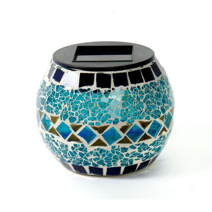 Lanterne solaire effet mosaïque bleu/brun : http://www.maginea.com/fiche/P201511120015.html