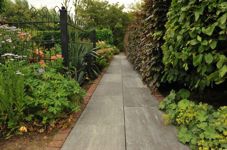 Het gelegde pad met deze prachtige betontegels geven de tuin net dat stukje extra. Erg inspiratie vol!