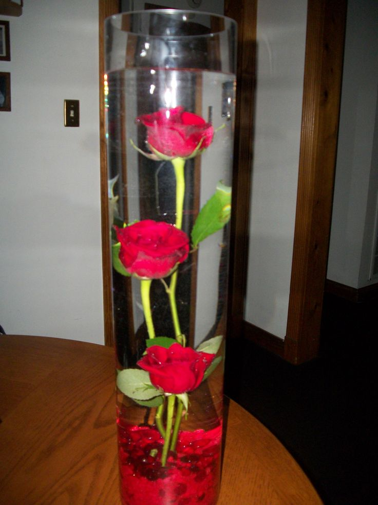 Tall Cylinder Vase W Red Roses Submerged In Water And Red Rocks At The Bottom Of The Vase W