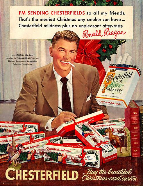Ronald Reagan sends Chesterfield cigarettes to his friends for Christmas.