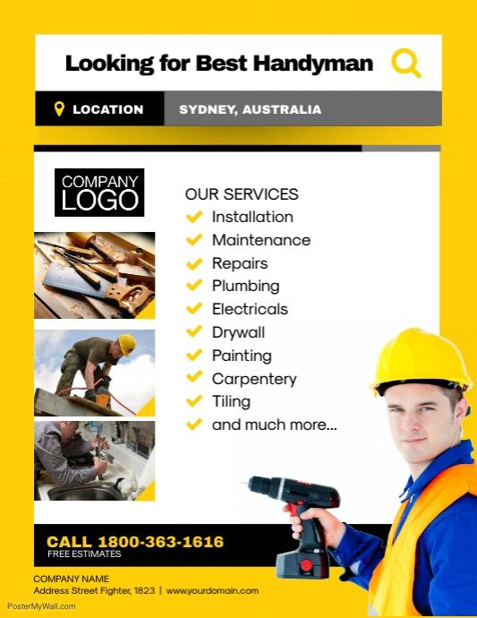 Handyman Professional Services Flyer Template   Handyman