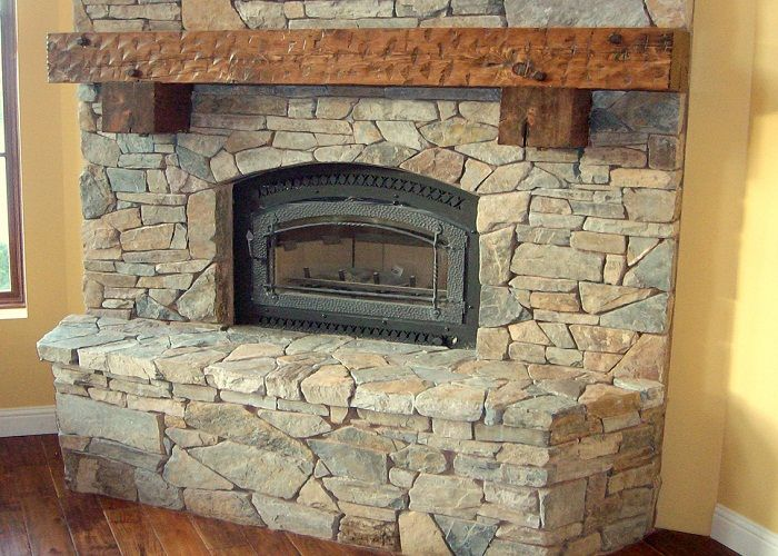 Fashionable Shabby Chic Fireplace as Your Favorite Place : Gibbs Corner Stacked Stone Fashionable Shabby Chic Fireplace