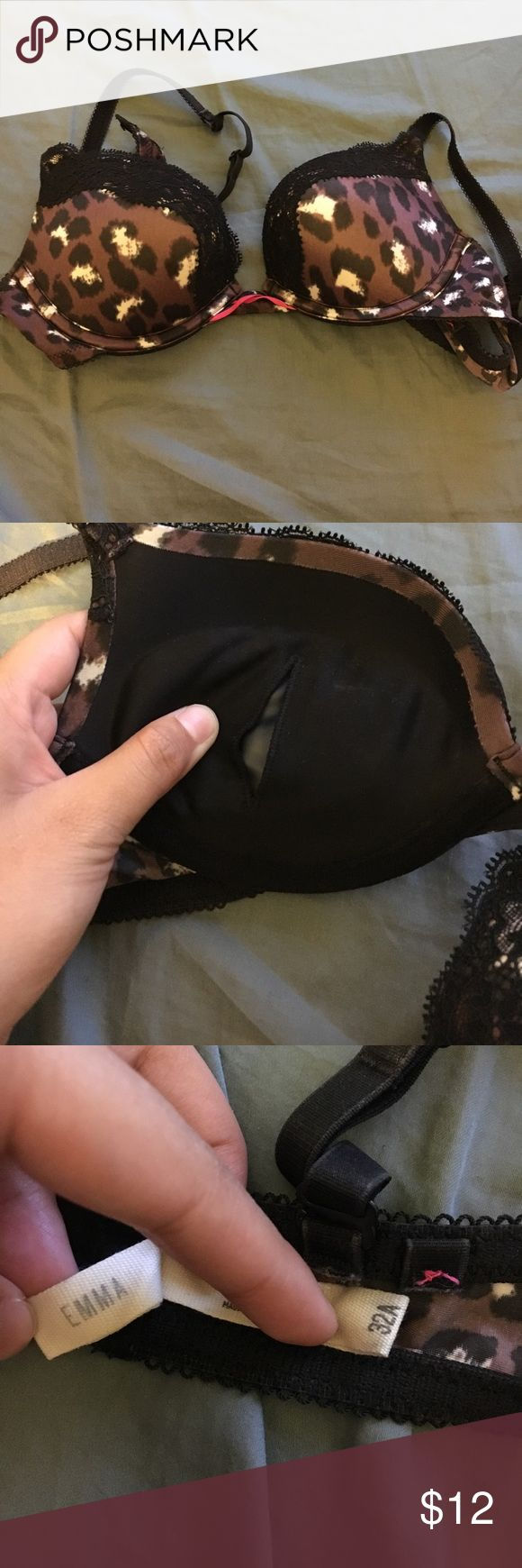Aerie emma super push up brown leopard print bra Aerie emma style super push up (air inserts) brown leopard print bra in size 32A. Lightly worn less than 3 times - underwire and cups still intact, straps in amazing condition. A bit of wear shown in pic 4. Otherwise hooks and everything in perfect condition. aerie Intimates & Sleepwear Bras