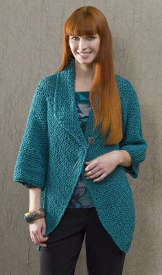 This is exactly what I've been looking for, easy to wear with anything, and 7 balls of Caron yarn. pattern for easy to intermediate crocheters!
