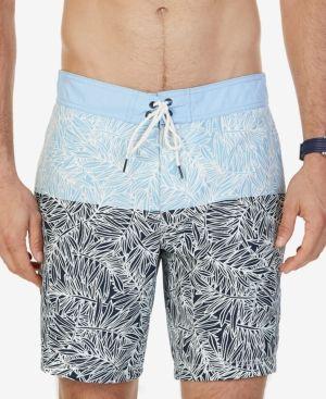 Nautica Men's Big & Tall Quick-Dry Leaf-Print Swim Trunks - Blue 3XLT