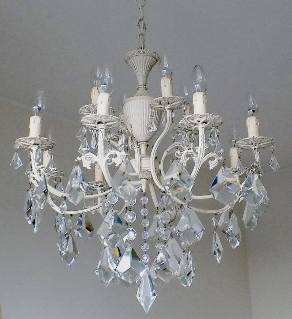 50s shabby chic 12 lights chandelier repurposed chic ivory chandelier crystal chandelier - Shabby Chic Chandelier