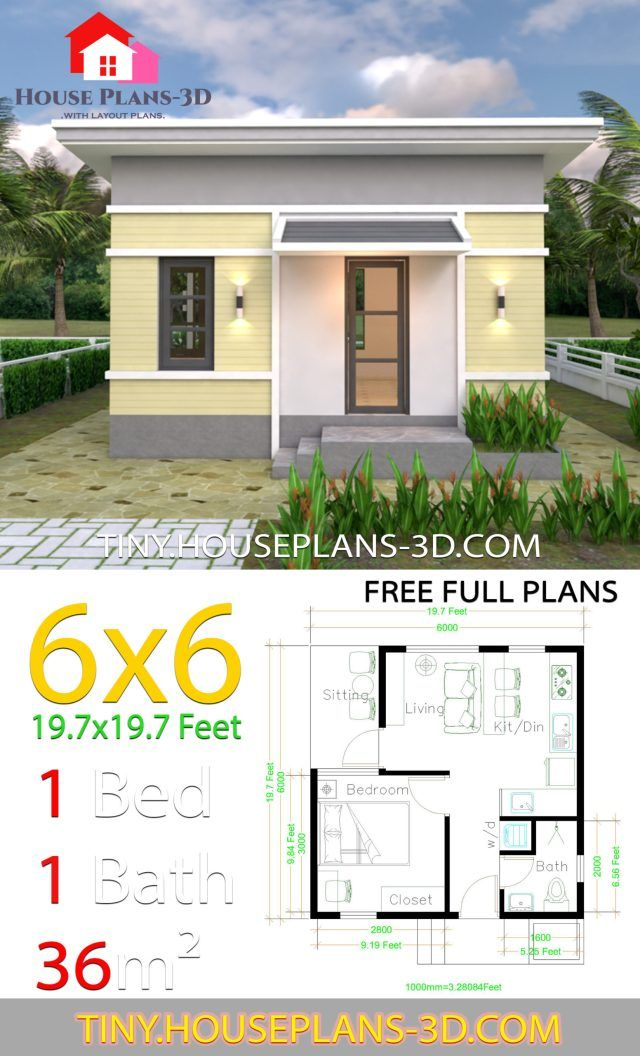 One Bedroom House Plans 6x6 With Shed Roof Tiny House Plans One Bedroom House Plans House Plans Tiny House Plans