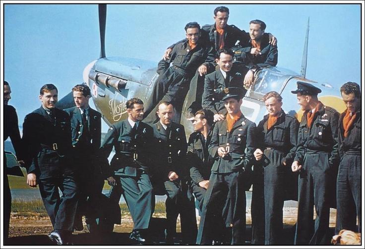 """ilots of 303. Sqn and Spitfire Mk Vb s/n BL670 RF*K """"Vojtek"""" - RAF Northolt early May 1942.  Standing L to R: F/Sgt Waclaw GIERMER, F/Sgt SZNAPKA, P/O Marian SZELESTOWSKI, F/O Jerzy SCHMIDT, F/O Janusz KOBYLINSKI, unknown, F/O Eugeniusz """"Horba"""" HORBACZEWSKI, F/O Janusz MARCINIAK, Sq/ldr Jan """"Johnny"""" ZUMBACH, Fl/lt Zygmunt BIENKOWSKI.  On the Spitfire L to R: Sgt Jozef STASIK, Sgt Ryszard GORECKI, F/Sgt Mieczyslaw ADAMEK. Below of Sgt Gorecki is F/O Longin MAJEWSKI."""