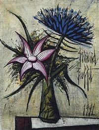 Bernard Buffet - Flowers in a vase on a table, 1991