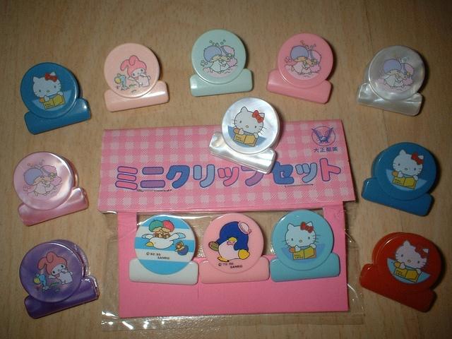 Vintage Sanrio Little Twin Stars, My Melody, Hello Kitty, Tuxedo Sam, Goropikadon Clips by lauper♥ann ///*c*\\\, via Flickr