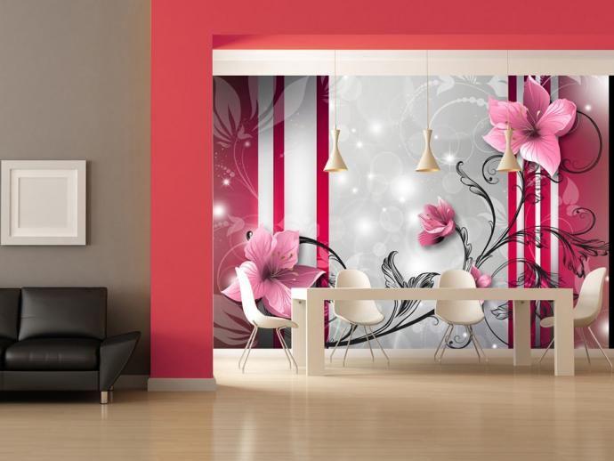 Фотообои на стену - Розовые почки. Флизелин.