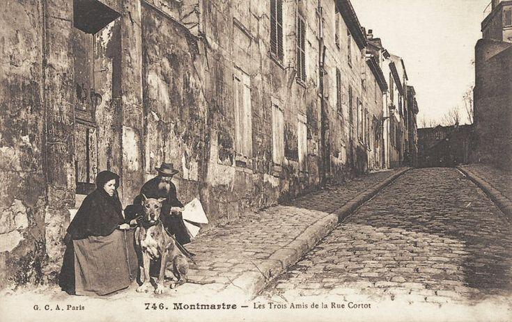 """Voici les """"trois amis"""" de la rue Cortot, à Montmartre, vers 1900."""