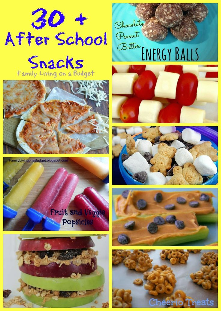 30+ After school snack ideas from Family Living on a Budget. Sweet snacks, healthy snacks, kid snacks, teen snacks #snackroundup