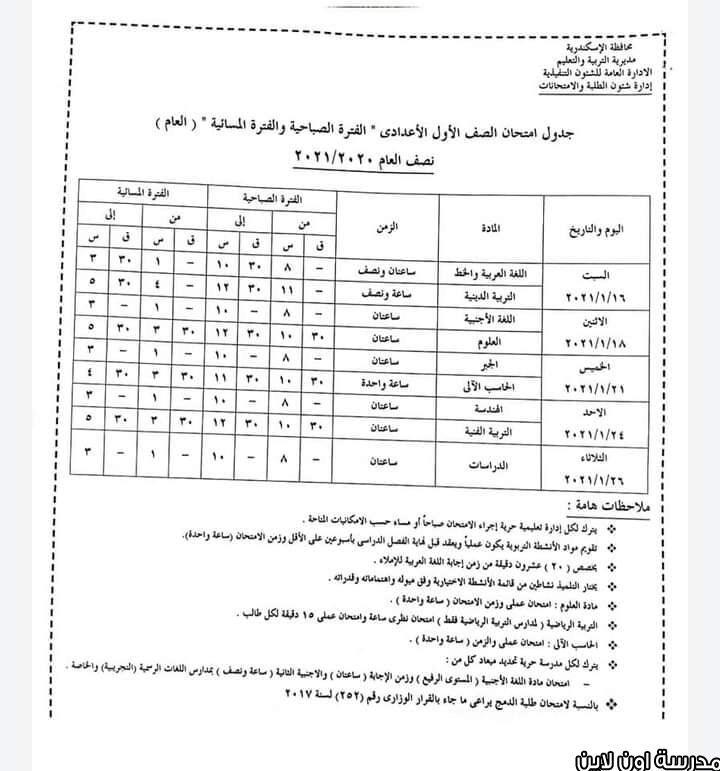 جدول امتحان أولي إعدادي الترم الأول 2021 محافظة الإسكندرية Sheet Music Music