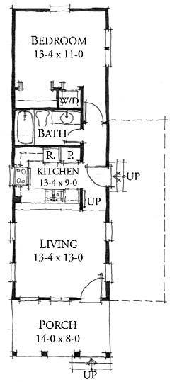 Coastal Home Plans - Duck Blind Cottage - 588 sq ft