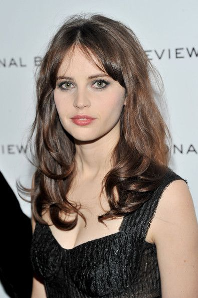Medium Length hair.  Gorgeous colour.  Felicity Jones