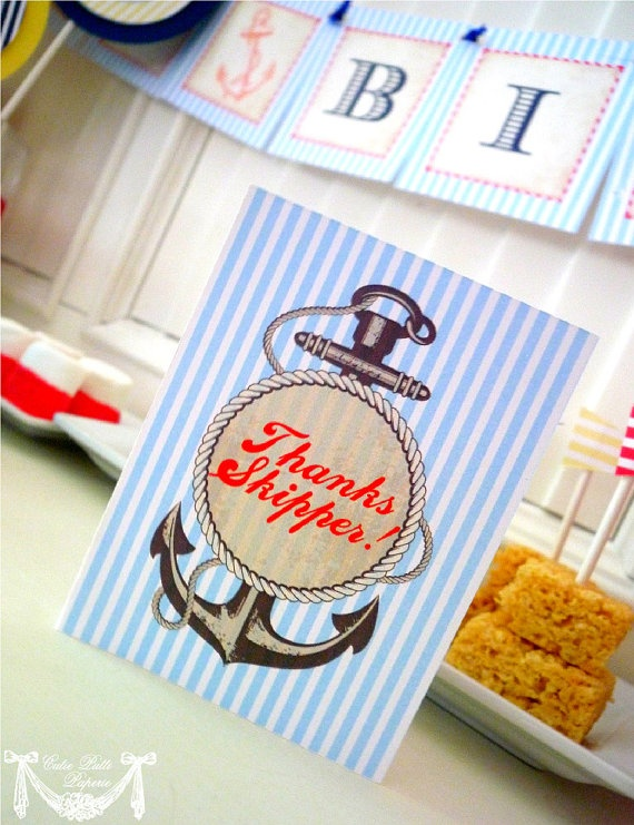 Nautical Party, Sailor Party - PRINTABLE THANK YOU Cards - Cutie Putti Paperie