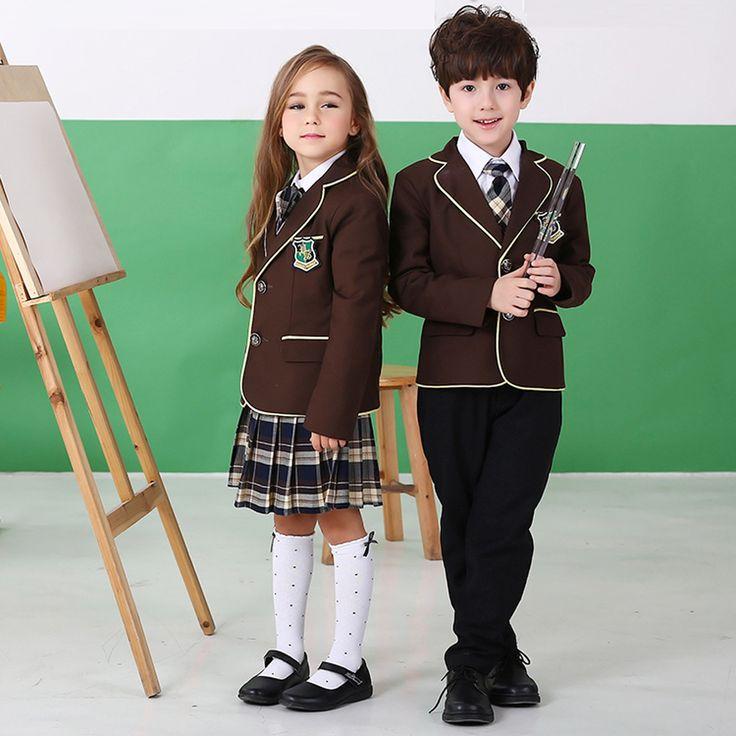 British American Spring winter school uniform for girls&boys kids jacket skirt baby girl clothes children clothing sets
