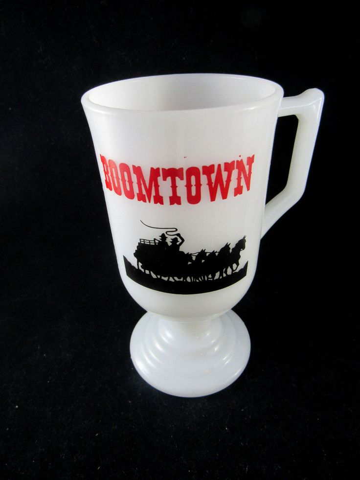 Boomtown Casino Hotel Vintage Milk Glass Irish Coffee Mug White Black Red Horse