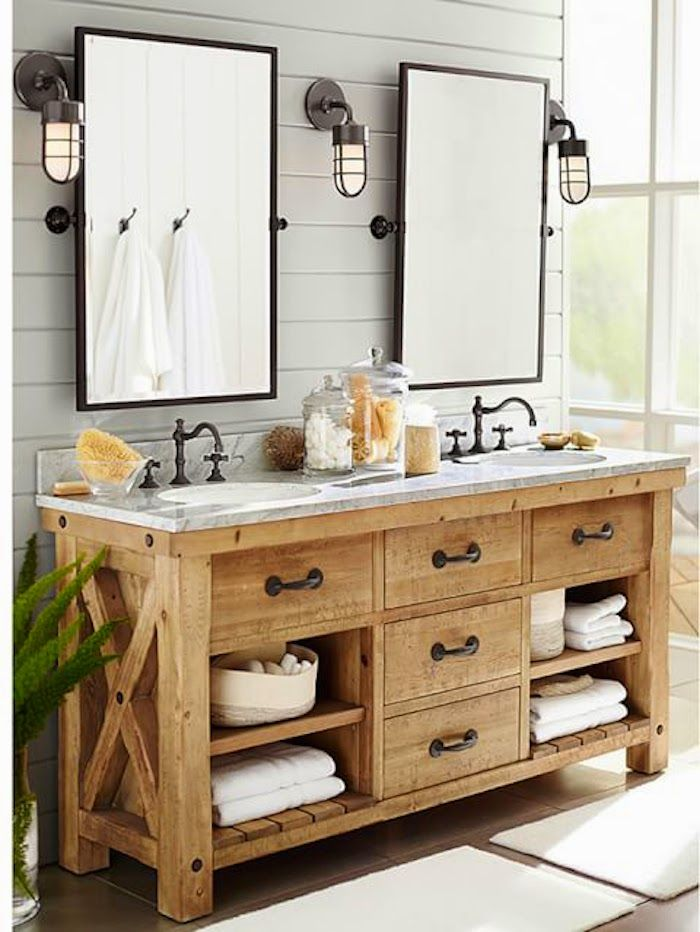 Delightful Rustic Master Bathroom With Complex Marble, Pottery Barn Kensington Pivot  Rectangular Mirror, European Cabinets, Double Sink Nice Look